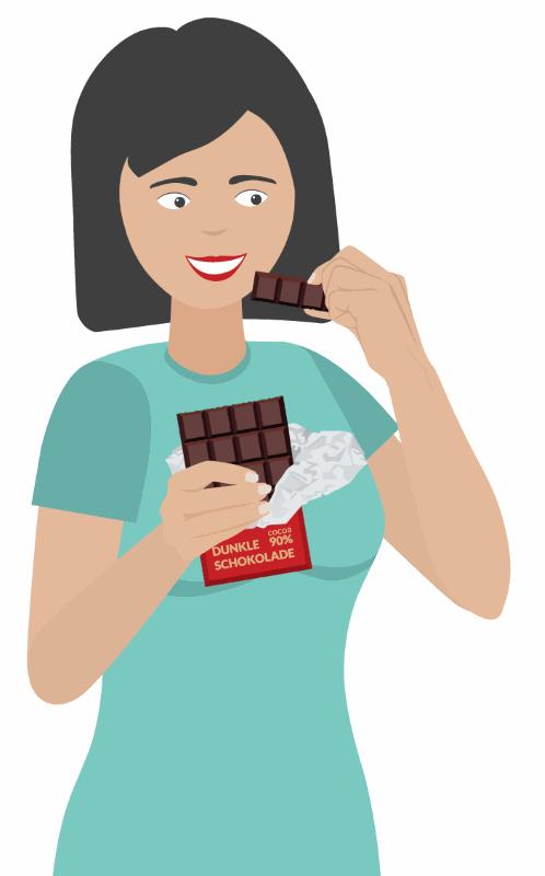 Essen dunkle Schokolade in der Diät